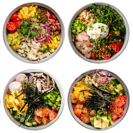 Isolated assorted hawaiian poke bowls menu collage