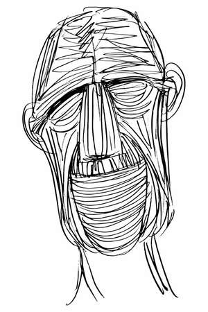 Ink Drawing (Sketch, Hatch Work) of an Expressive Face (Old Man) in a Textured Unique Style. Artistic Manual Illustration turned to Vector.