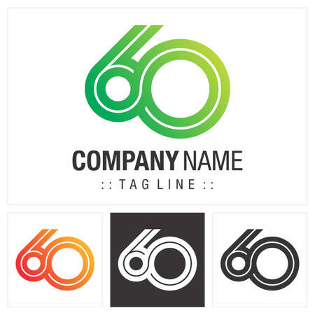 Anniversary (Number 60) Vector Symbol Company Logo. Infinite Symbol (Unlimited) Style Logotype. Number logo icon illustration. Elegant Identity Concept Design Idea Template (Branding).