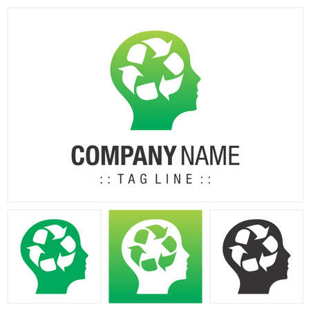 Recycle (Ecology Thinking, Head, Mind) Vector Symbol Company Logo (Logotype). Sustainability Style Icon Illustration. Elegant Modern Identity Concept Design Idea Template (Brand).