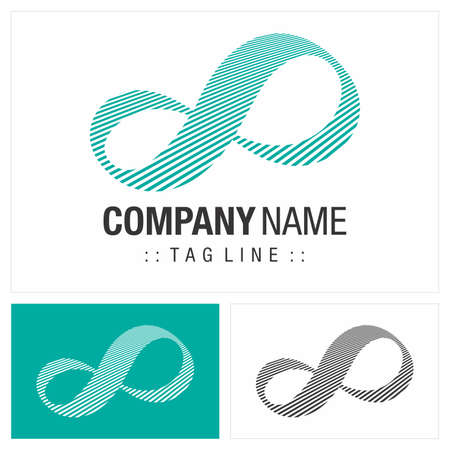 Infinity (Unlimited) Vector Symbol Company Logo. Striped Style Logotype. Endless icon illustration. Elegant Identity Concept Design Idea Template (Branding).