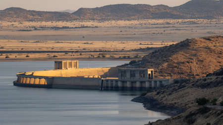 View of Gariep Dam wall at dusk