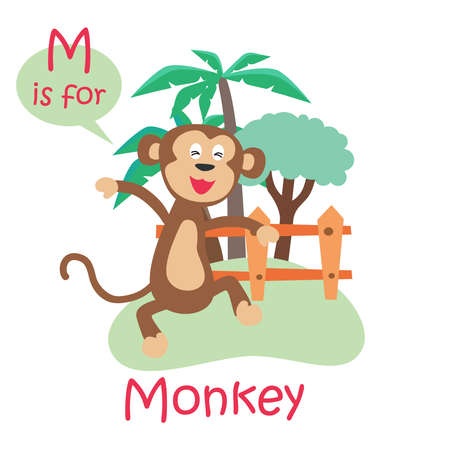 Illustrated alphabet letter M and monkey. Vector illustration. ABC book. Cute zoo alphabet with funny animals. Letters. Learn to read. Isolated. For kids. Alphabet.