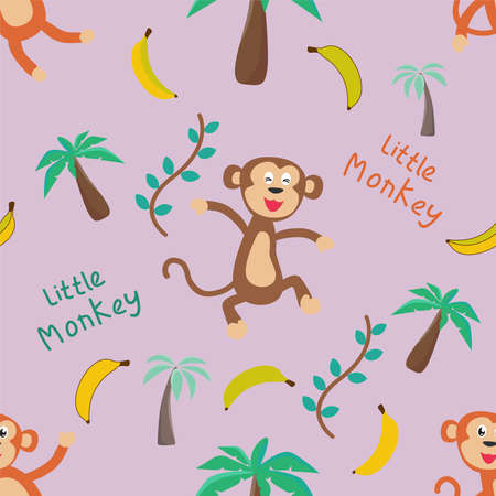 Vector seamless pattern with cute baby monkey, Childish texture in minimalistic style. Great for fabric, textile Vector Illustration