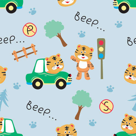 Vector seamless pattern with tiger driver. Creative vector childish background for fabric, textile, nursery wallpaper, poster, card, brochure. Vector illustration background. African safari. 矢量图像