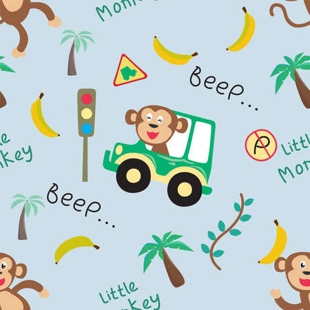 Vector seamless pattern with monkey driver. Creative vector childish background for fabric, textile, nursery wallpaper, poster, card, brochure. Vector illustration background. African safari.