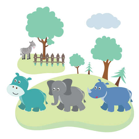 A group of baby animals playing  on the field illustration.