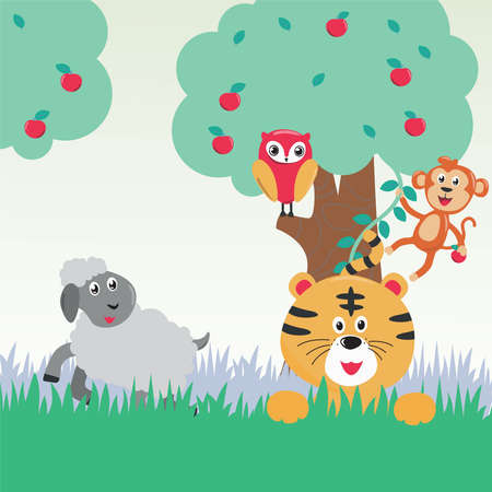 Jungle animals. Vector illustration of tiger, sheep, bird and monkey in the jungle or forest.