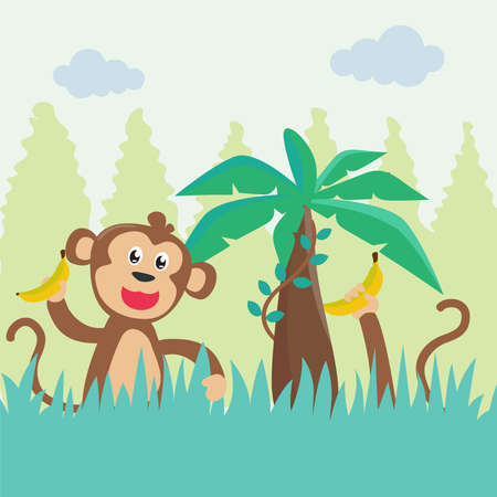 Illustration of a happy monkey with banana. Creative vector childish background for fabric, textile, nursery wallpaper, poster, card, brochure. Vector illustration background. 矢量图像