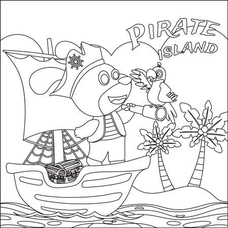 Cute lion sailor on the boat with cartoon style. Creative vector Childish design for kids activity colouring book or page.