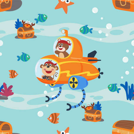 seamless texture with little monkey and bear driving submarine, For fabric textile, nursery, baby clothes, background, textile, wrapping paper and other decoration.