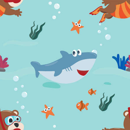 Vector seamless pattern with funny lion pirate cartoon, Cute Marine pattern for fabric, textile, nursery, baby clothes, background, textile, wrapping paper and other decoration. Ilustração