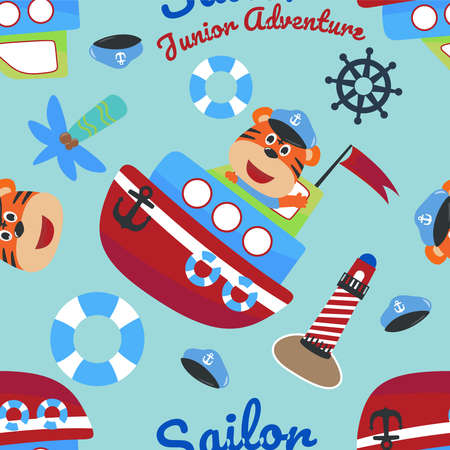 Vector seamless pattern with funny monkey pirate cartoon, Cute Marine pattern for fabric, textile, nursery, baby clothes, background, textile, wrapping paper and other decoration.