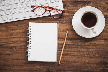 Desk work and notebook Banco de Imagens