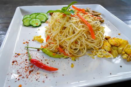 stir up: Stir fried rice noodles close up
