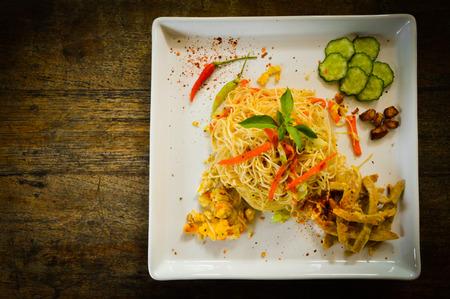 stir fried: Stir fried rice noodles top view Stock Photo
