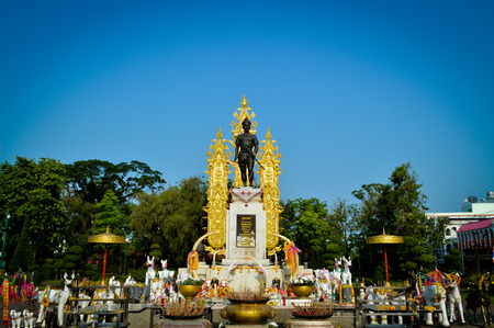 amity: Croped King Mangrai Monument in Chiang Rai with blue sky