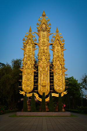 cordiality: Thai Lanna Grand Flag with blue sky and trees