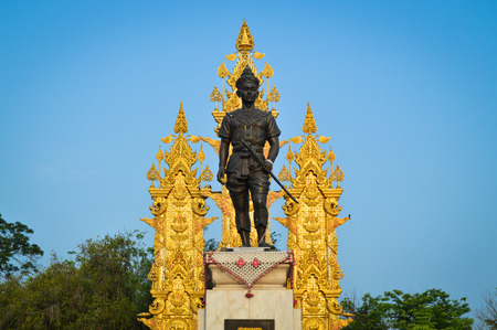 cordiality: King Mangrai with Thai Lanna Grand Flag and Blue Sky