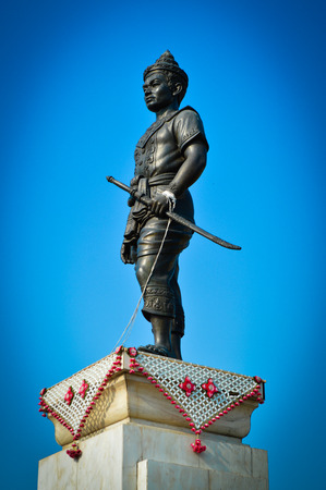 cordiality: King Mangrai Monument in Chiang Rai with blue sky