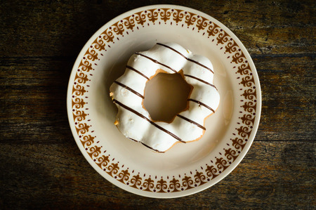 fattening: Mochi Ring Chocolate Marble on the dish Stock Photo