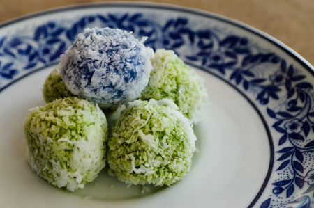 shred: Thai boiled Sweets with Shredded coconuts on the dish