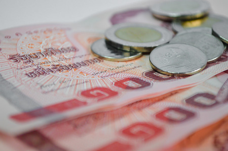 augmentation: Thai Money: close up of coins and banknotes Stock Photo