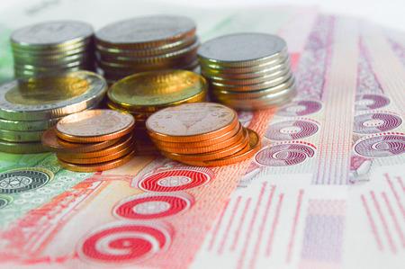 baht: Thai baht banknotes and coins