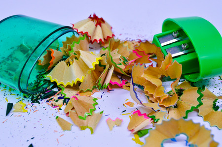 sharpeners: Crayon shavings and sharpeners isolated background Stock Photo
