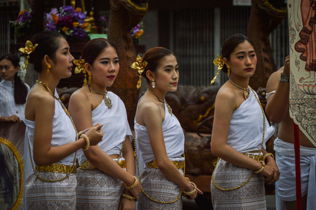 public offering: Chiang Rai, Thailand : January 1, 2017. New Year Food Offerings Festival of traditional merit making ceremony