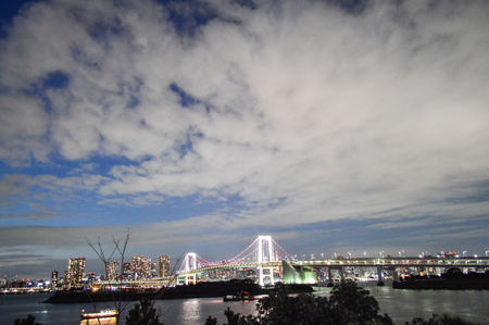 replica: Tokyo, Japan. 13 January 2014. At night, Rainbow bridge