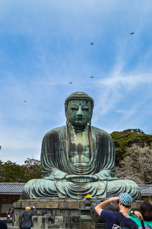 Kamakura, Kanagawa, Japan - 31 March, 2014. The Great Buddha of Kamakura (Kamakura Daibutsu) ,a bronze statue of Amida Buddha, which stands on the grounds of Kotokuin Temple. Editorial