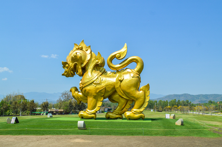 Chiang Rai, Thailand - March 12, 2017 : Singha Park Chiang Rai. Agro-tourism destination focusing on the development of sustainable tourism. Singha Symbol