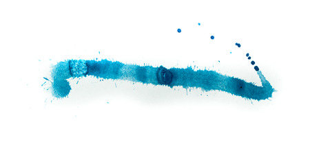 Watercolor splash on white background, blue color
