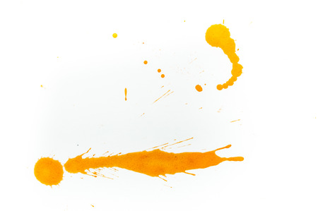 Watercolor splash on white background, yellow color
