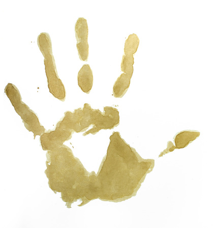 Hand, Coffee stain on white background