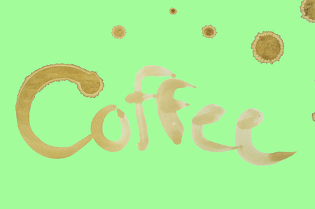 Coffee text on green background Stock Photo