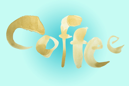Coffee text on blue background
