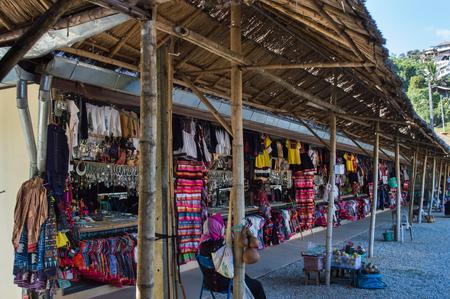 Chiang Rai, Thailand - December 5, 2017: Hill tribe products shop at viewpoint of Doi tung.