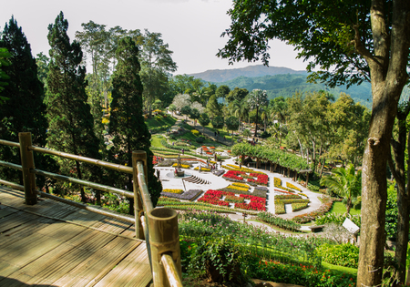 Chiang Rai, Thailand - December 5, 2017: The Colors of Doi Tung Festival returns after last year's success, transforming the mountains of Doi Tung. The viewpoint of flower garden