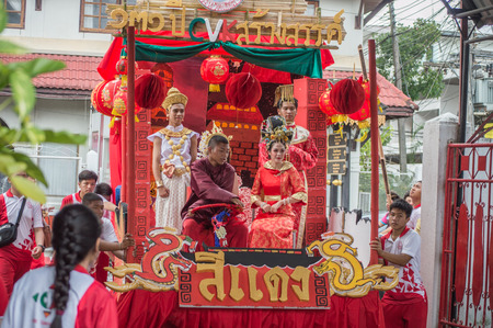 CHIANG RAI, THAILAND - September 14, 2018 : Chiengrai Vidhayakhome School students parade in annual Sports Days. Beautiful cute girls leading the parade. Editorial