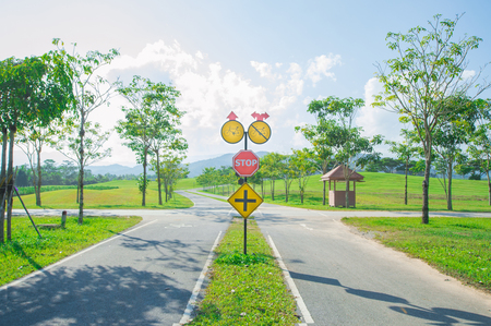Asphalt road with traffic sign. Route in beautiful nature landscape with sun, blue sky and green grass. Imagens