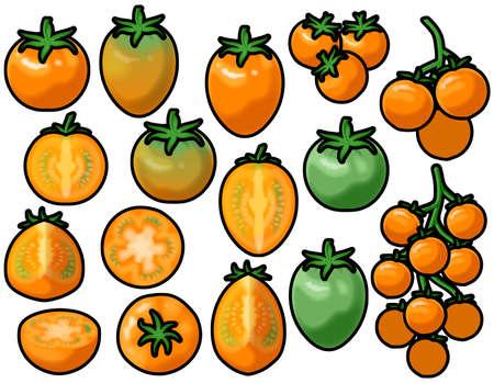 Various orange mini tomatoes