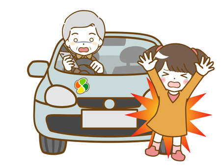 An elderly man who looks away while driving and bumps into a girl