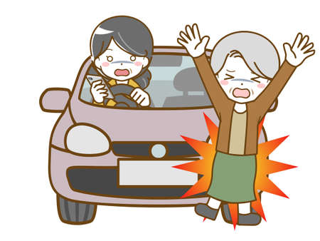 Middle-aged woman bumping into an old woman looking away while driving