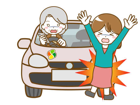 An old woman who looks away while driving and bumps into a woman