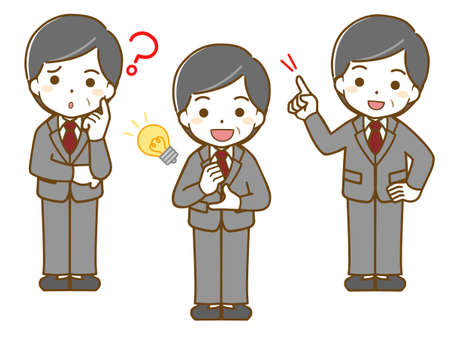 Questions and resolutions of middle-old men in suits 向量圖像