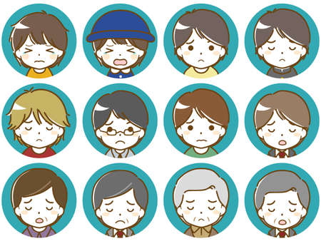Troubled facial expression icons of men of various age