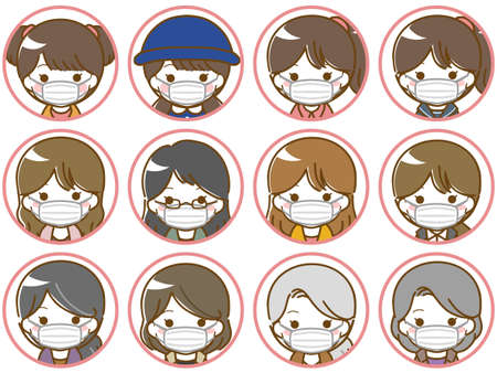 Masked women's face icons