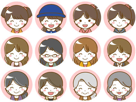 Fun facial expression icons of women of various age